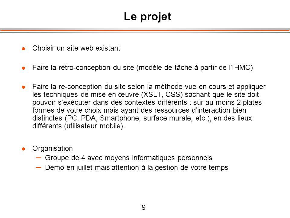 9 Le projet Choisir un site web existant Faire la rétro-conception du site (modèle de tâche à partir de lIHMC) Faire la re-conception du site selon la