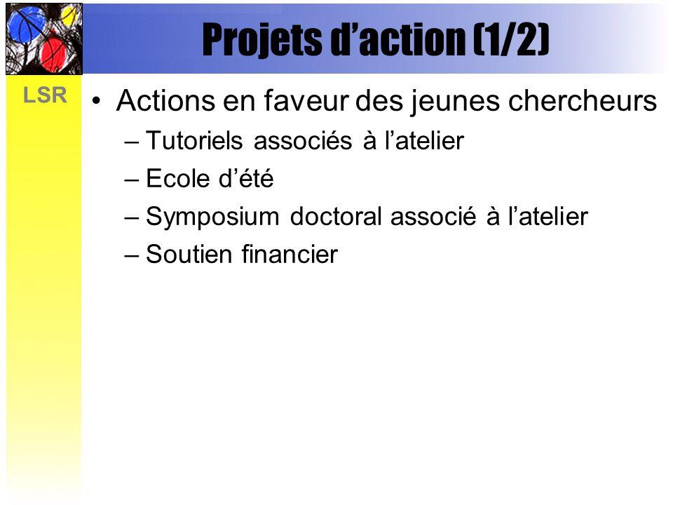 LSR Projets daction (1/2) Actions en faveur des jeunes chercheurs –Tutoriels associés à latelier –Ecole dété –Symposium doctoral associé à latelier –Soutien financier