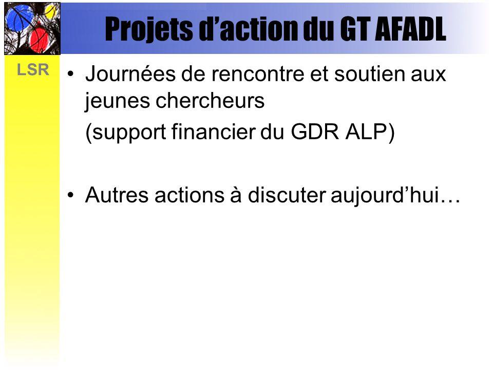 LSR Projets daction du GT AFADL Journées de rencontre et soutien aux jeunes chercheurs (support financier du GDR ALP) Autres actions à discuter aujour