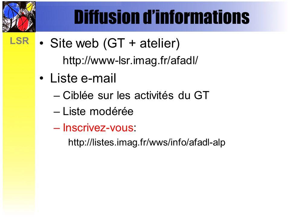LSR Diffusion dinformations Site web (GT + atelier) http://www-lsr.imag.fr/afadl/ Liste e-mail –Ciblée sur les activités du GT –Liste modérée –Inscrivez-vous: http://listes.imag.fr/wws/info/afadl-alp
