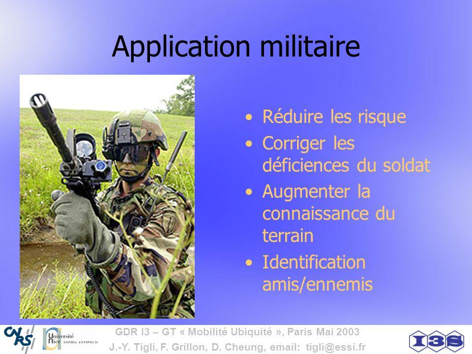 GDR I3 – GT « Mobilité Ubiquité », Paris Mai 2003 J.-Y. Tigli, F. Grillon, D. Cheung, email: tigli@essi.fr Application militaire Réduire les risque Co