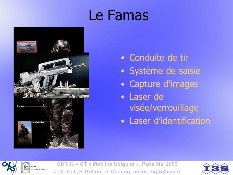 GDR I3 – GT « Mobilité Ubiquité », Paris Mai 2003 J.-Y. Tigli, F. Grillon, D. Cheung, email: tigli@essi.fr Le Famas Conduite de tir Système de saisie