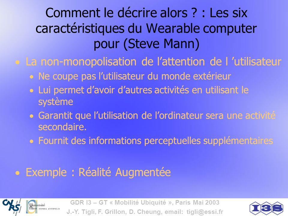 GDR I3 – GT « Mobilité Ubiquité », Paris Mai 2003 J.-Y. Tigli, F. Grillon, D. Cheung, email: tigli@essi.fr Comment le décrire alors ? : Les six caract