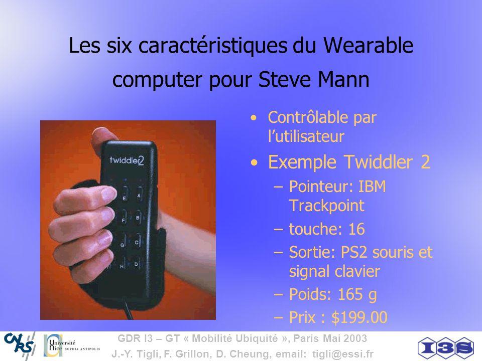 GDR I3 – GT « Mobilité Ubiquité », Paris Mai 2003 J.-Y. Tigli, F. Grillon, D. Cheung, email: tigli@essi.fr Les six caractéristiques du Wearable comput