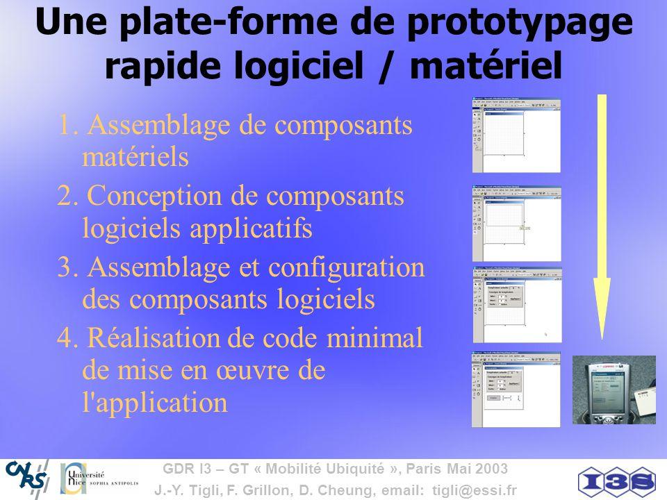 GDR I3 – GT « Mobilité Ubiquité », Paris Mai 2003 J.-Y. Tigli, F. Grillon, D. Cheung, email: tigli@essi.fr Une plate-forme de prototypage rapide logic