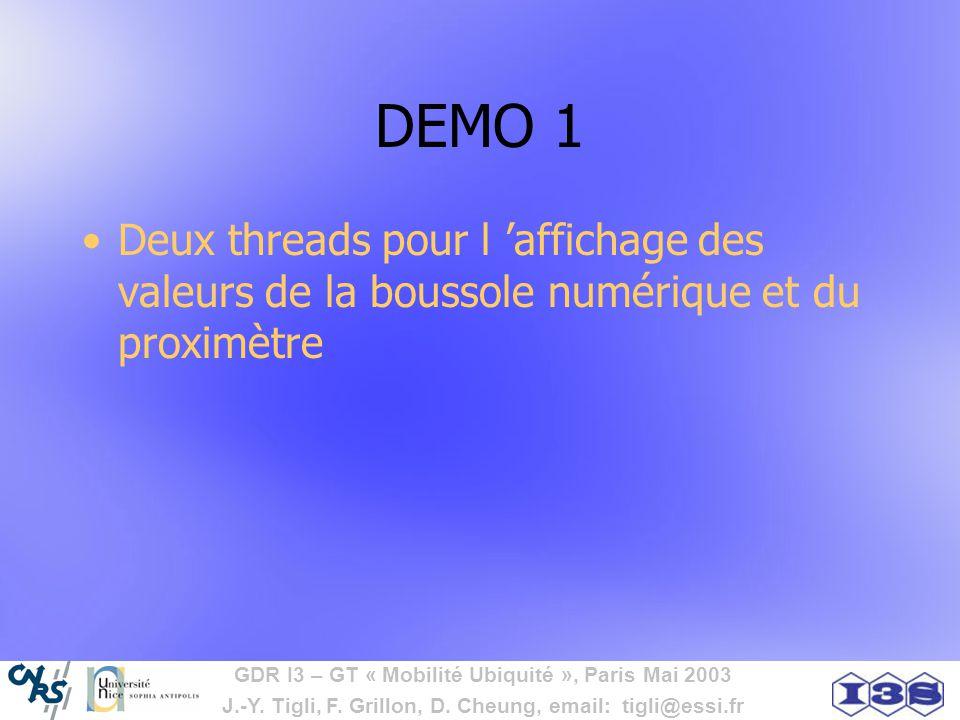 GDR I3 – GT « Mobilité Ubiquité », Paris Mai 2003 J.-Y. Tigli, F. Grillon, D. Cheung, email: tigli@essi.fr DEMO 1 Deux threads pour l affichage des va