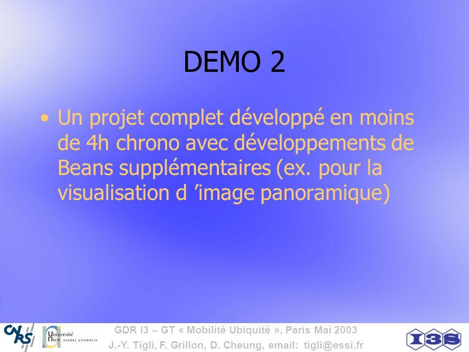GDR I3 – GT « Mobilité Ubiquité », Paris Mai 2003 J.-Y. Tigli, F. Grillon, D. Cheung, email: tigli@essi.fr DEMO 2 Un projet complet développé en moins