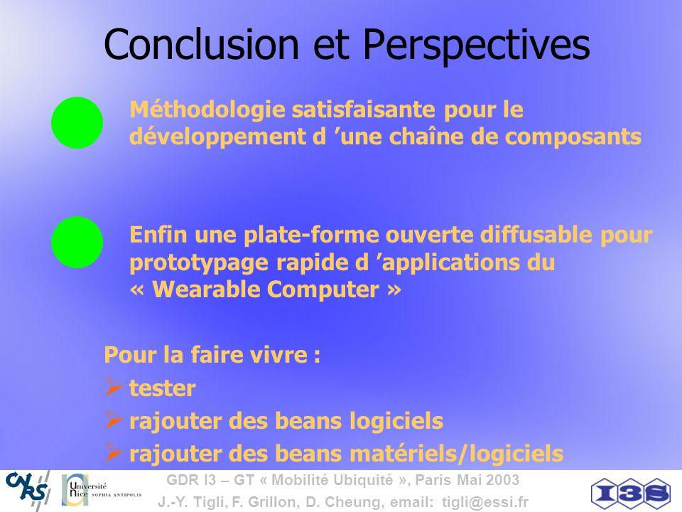 GDR I3 – GT « Mobilité Ubiquité », Paris Mai 2003 J.-Y. Tigli, F. Grillon, D. Cheung, email: tigli@essi.fr Conclusion et Perspectives Méthodologie sat