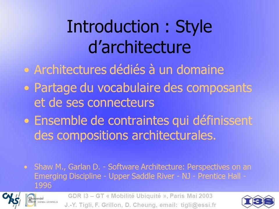 GDR I3 – GT « Mobilité Ubiquité », Paris Mai 2003 J.-Y. Tigli, F. Grillon, D. Cheung, email: tigli@essi.fr Introduction : Style darchitecture Architec