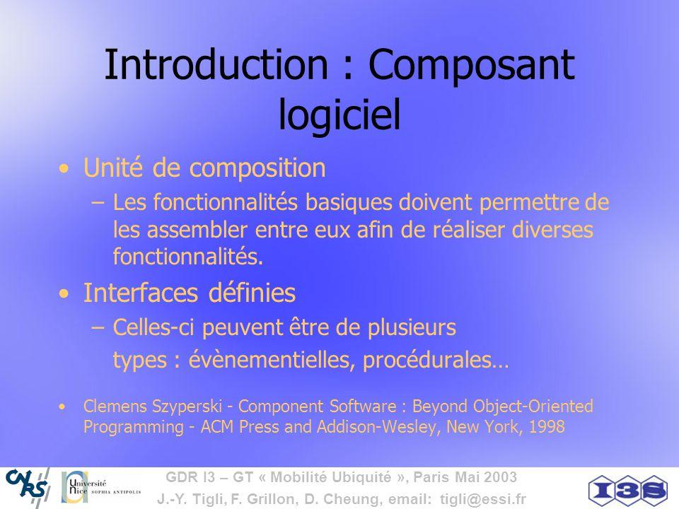 GDR I3 – GT « Mobilité Ubiquité », Paris Mai 2003 J.-Y. Tigli, F. Grillon, D. Cheung, email: tigli@essi.fr Introduction : Composant logiciel Unité de
