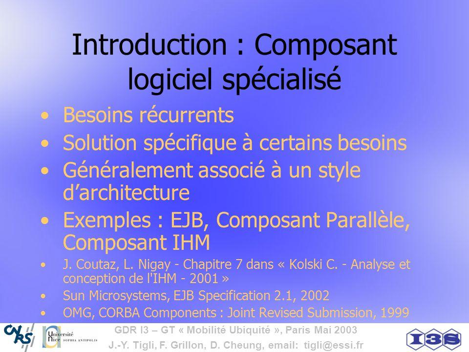 GDR I3 – GT « Mobilité Ubiquité », Paris Mai 2003 J.-Y. Tigli, F. Grillon, D. Cheung, email: tigli@essi.fr Introduction : Composant logiciel spécialis