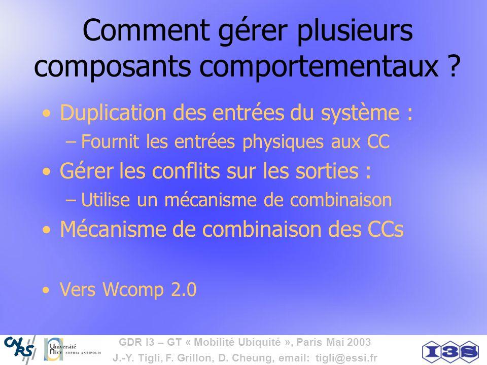 GDR I3 – GT « Mobilité Ubiquité », Paris Mai 2003 J.-Y. Tigli, F. Grillon, D. Cheung, email: tigli@essi.fr Comment gérer plusieurs composants comporte