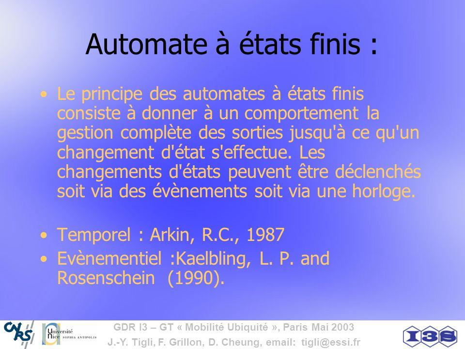 GDR I3 – GT « Mobilité Ubiquité », Paris Mai 2003 J.-Y. Tigli, F. Grillon, D. Cheung, email: tigli@essi.fr Automate à états finis : Le principe des au