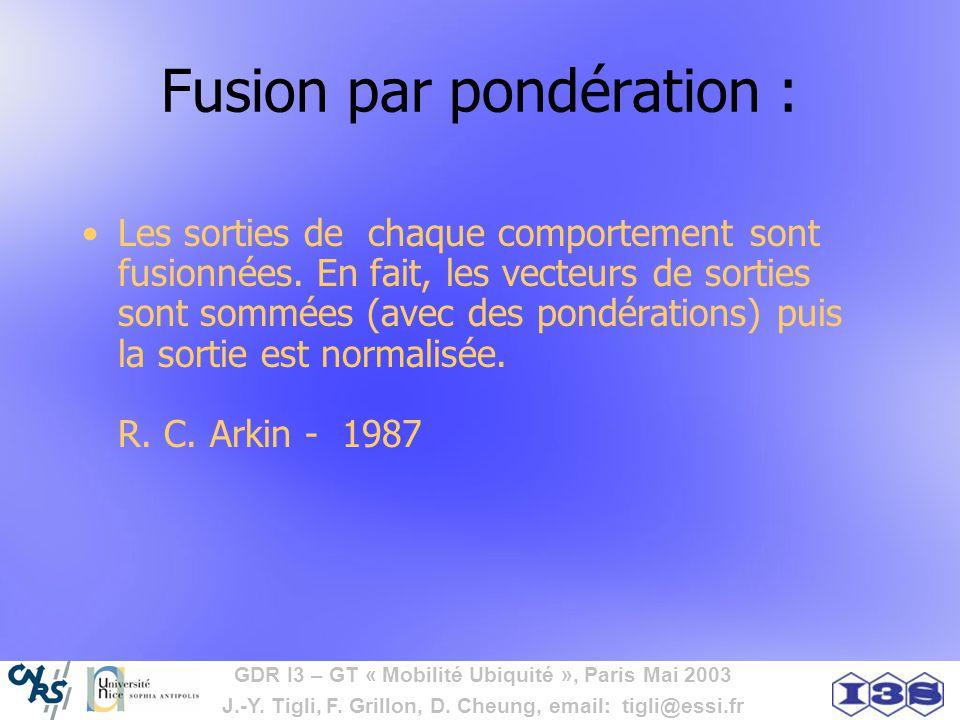 GDR I3 – GT « Mobilité Ubiquité », Paris Mai 2003 J.-Y. Tigli, F. Grillon, D. Cheung, email: tigli@essi.fr Fusion par pondération : Les sorties de cha