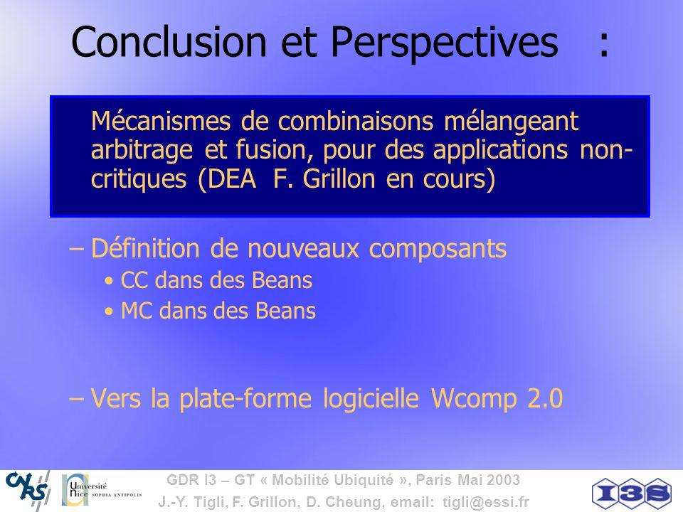 GDR I3 – GT « Mobilité Ubiquité », Paris Mai 2003 J.-Y. Tigli, F. Grillon, D. Cheung, email: tigli@essi.fr Conclusion et Perspectives : Mécanismes de