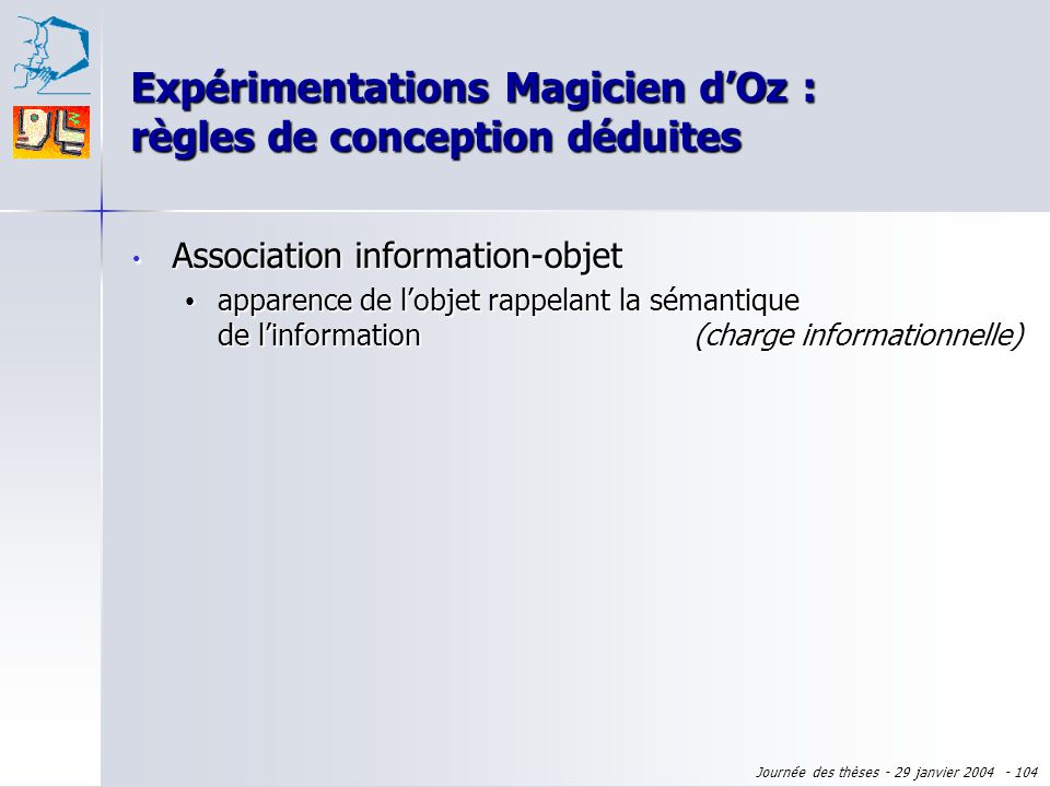 Journée des thèses - 29 janvier 2004 - 103 Merci pour votre attention ! des questions ?