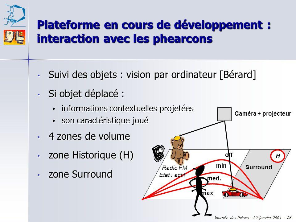 Journée des thèses - 29 janvier 2004 - 85 Plateforme en cours de développement : interaction avec les phearcons Suivi des objets : vision par ordinate
