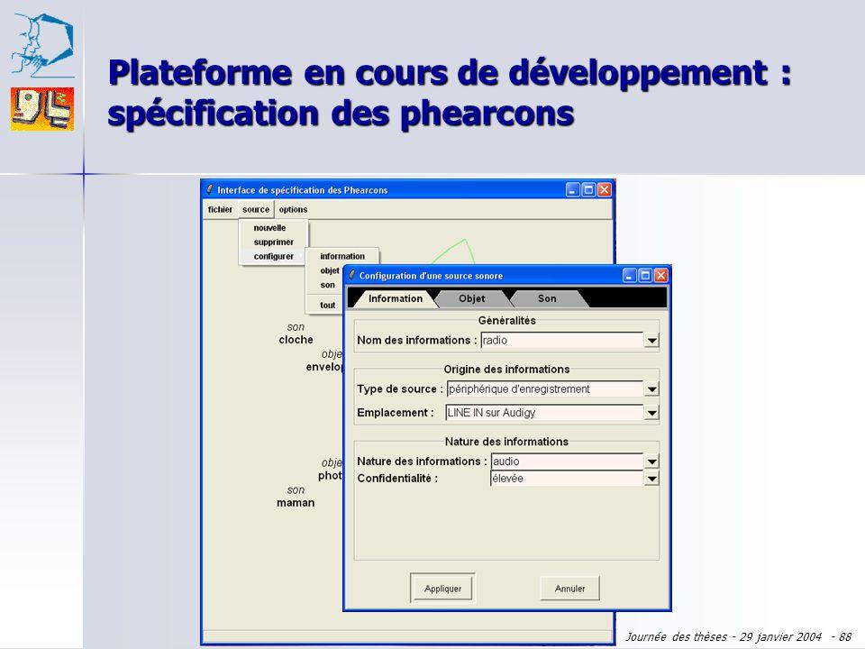 Journée des thèses - 29 janvier 2004 - 87 Plateforme en cours de développement : spécification des phearcons