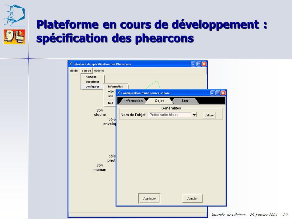 Journée des thèses - 29 janvier 2004 - 88 Plateforme en cours de développement : spécification des phearcons