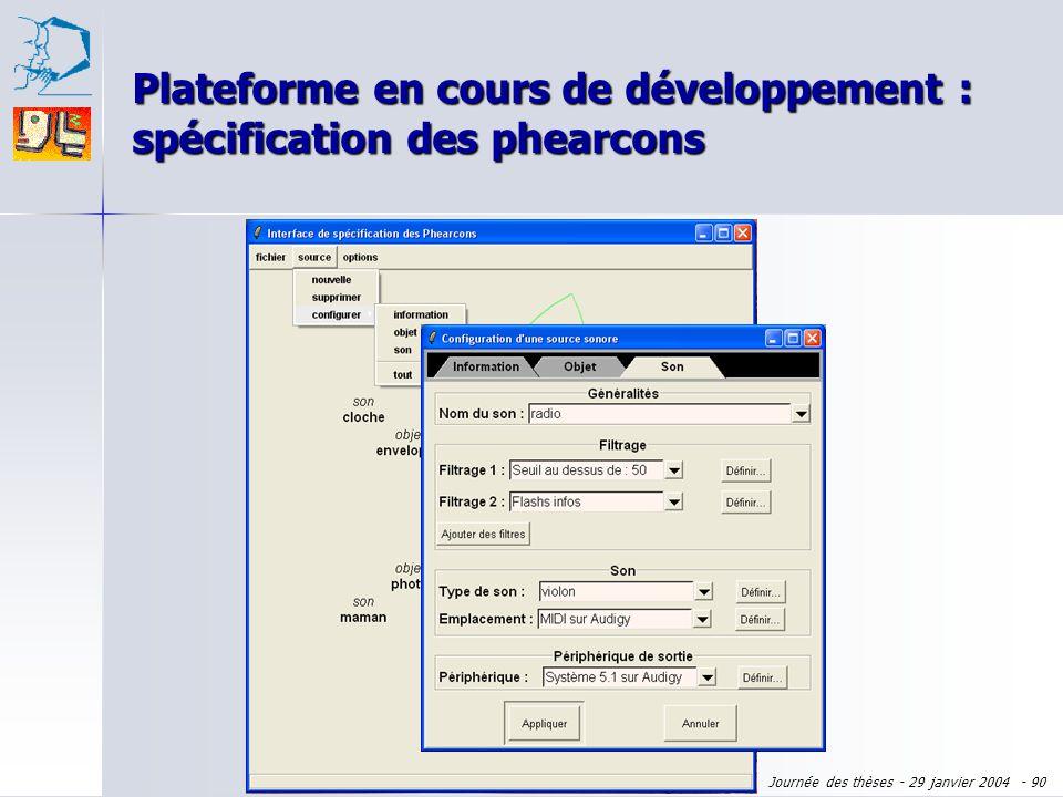 Journée des thèses - 29 janvier 2004 - 89 Plateforme en cours de développement : spécification des phearcons