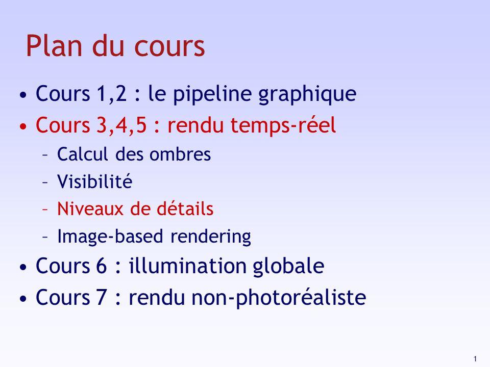 1 Plan du cours Cours 1,2 : le pipeline graphique Cours 3,4,5 : rendu temps-réel –Calcul des ombres –Visibilité –Niveaux de détails –Image-based rendering Cours 6 : illumination globale Cours 7 : rendu non-photoréaliste