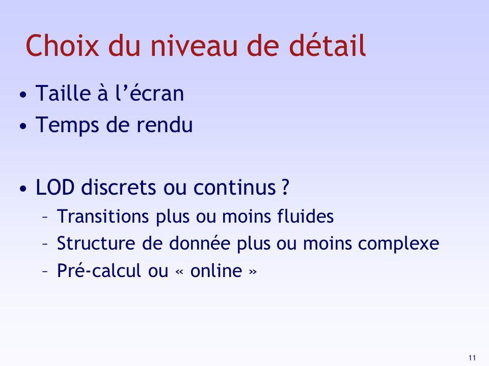 11 Choix du niveau de détail Taille à lécran Temps de rendu LOD discrets ou continus .
