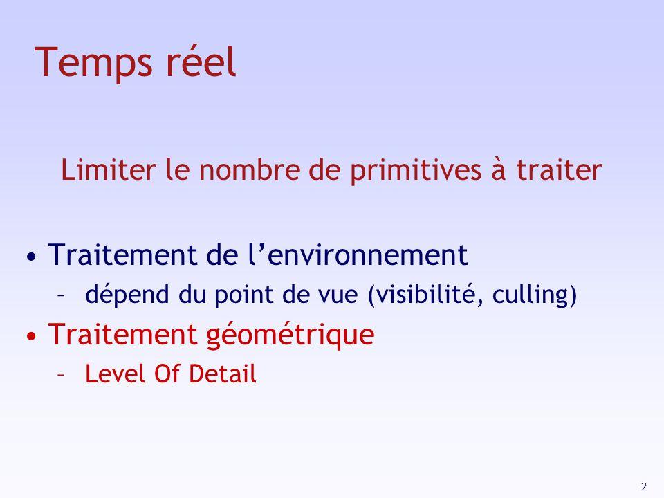 2 Temps réel Limiter le nombre de primitives à traiter Traitement de lenvironnement – dépend du point de vue (visibilité, culling) Traitement géométrique – Level Of Detail