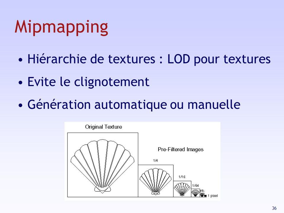 36 Mipmapping Hiérarchie de textures : LOD pour textures Evite le clignotement Génération automatique ou manuelle