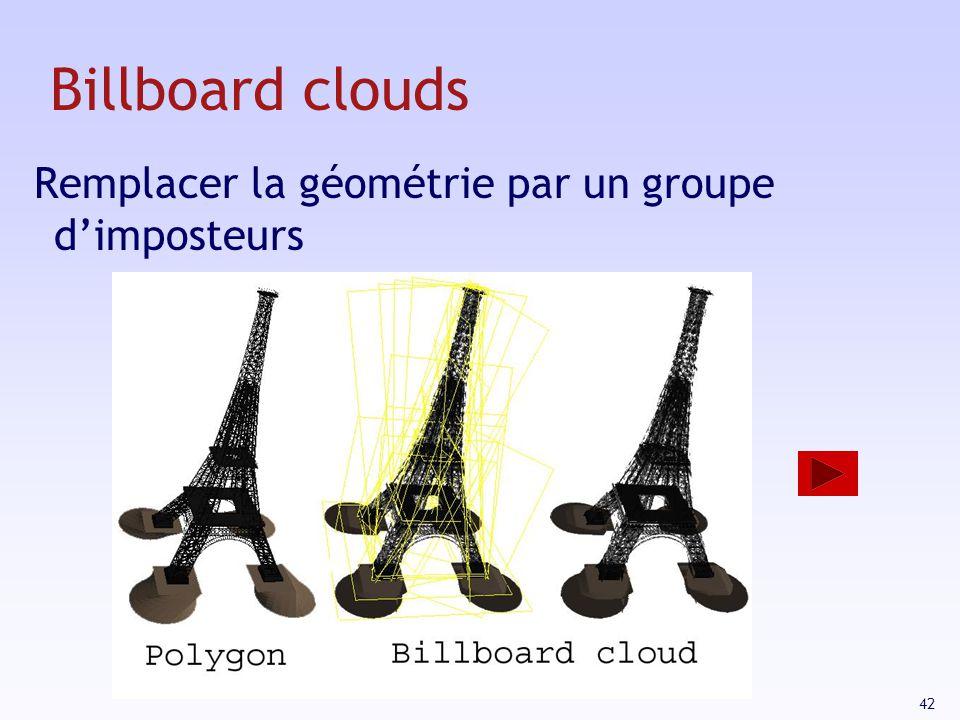 42 Billboard clouds Remplacer la géométrie par un groupe dimposteurs