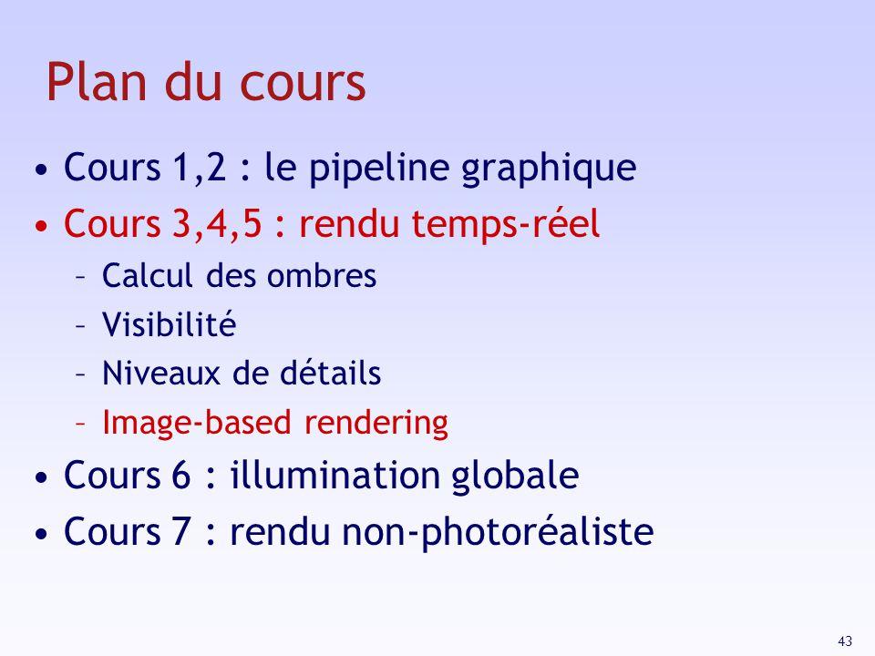 43 Plan du cours Cours 1,2 : le pipeline graphique Cours 3,4,5 : rendu temps-réel –Calcul des ombres –Visibilité –Niveaux de détails –Image-based rendering Cours 6 : illumination globale Cours 7 : rendu non-photoréaliste