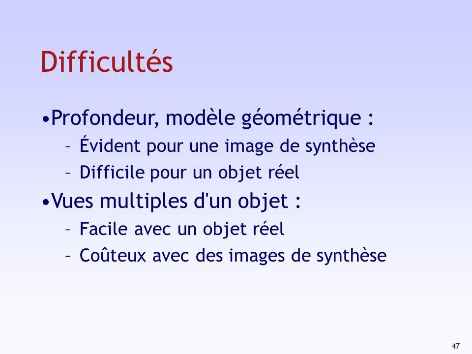 47 Profondeur, modèle géométrique : –Évident pour une image de synthèse –Difficile pour un objet réel Vues multiples d un objet : –Facile avec un objet réel –Coûteux avec des images de synthèse Difficultés
