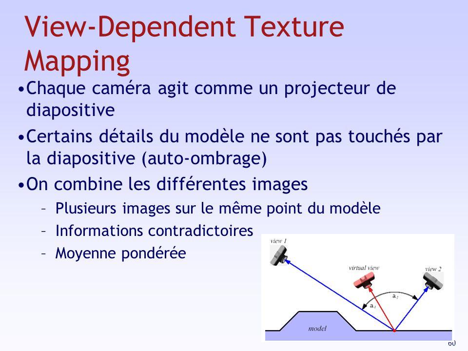60 View-Dependent Texture Mapping Chaque caméra agit comme un projecteur de diapositive Certains détails du modèle ne sont pas touchés par la diapositive (auto-ombrage) On combine les différentes images –Plusieurs images sur le même point du modèle –Informations contradictoires –Moyenne pondérée
