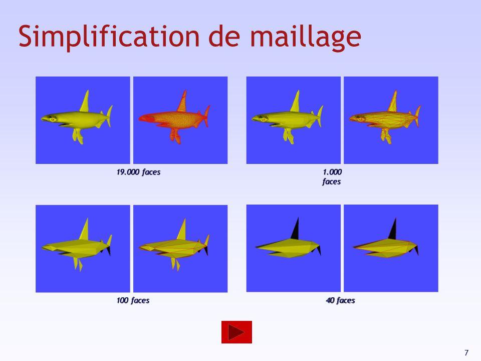 7 19.000 faces 1.000 faces 100 faces 40 faces Simplification de maillage