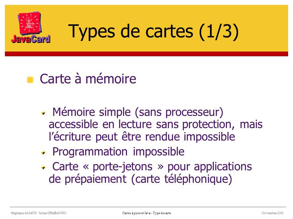 Stéphane AMATO / Julien CHABANONNovembre 2001Cartes à puce et Java - Type de carte Carte à mémoire Mémoire simple (sans processeur) accessible en lect