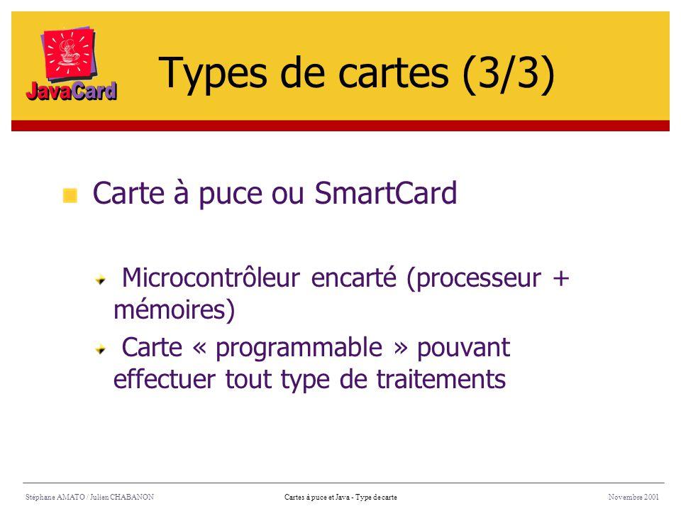 Stéphane AMATO / Julien CHABANONNovembre 2001Cartes à puce et Java - Type de carte Carte à puce ou SmartCard Microcontrôleur encarté (processeur + mém