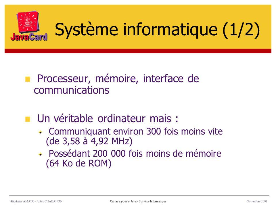 Stéphane AMATO / Julien CHABANONNovembre 2001Cartes à puce et Java - Système informatique Processeur, mémoire, interface de communications Un véritabl