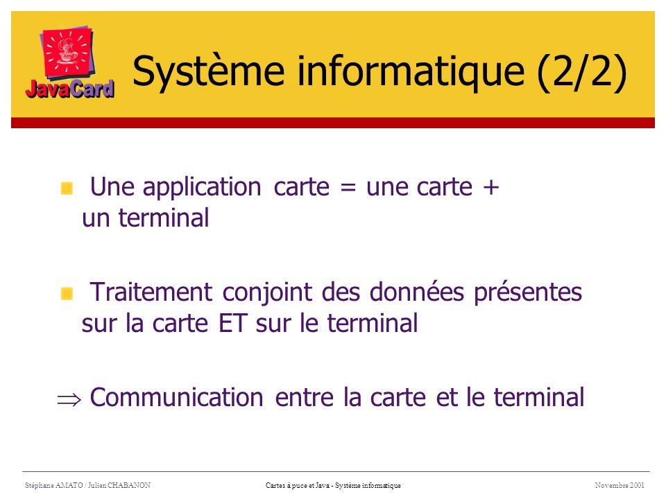 Stéphane AMATO / Julien CHABANONNovembre 2001Cartes à puce et Java - Système informatique Une application carte = une carte + un terminal Traitement c