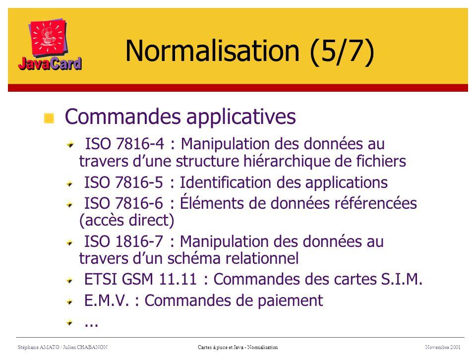 Stéphane AMATO / Julien CHABANONNovembre 2001Cartes à puce et Java - Normalisation Commandes applicatives ISO 7816-4 : Manipulation des données au tra