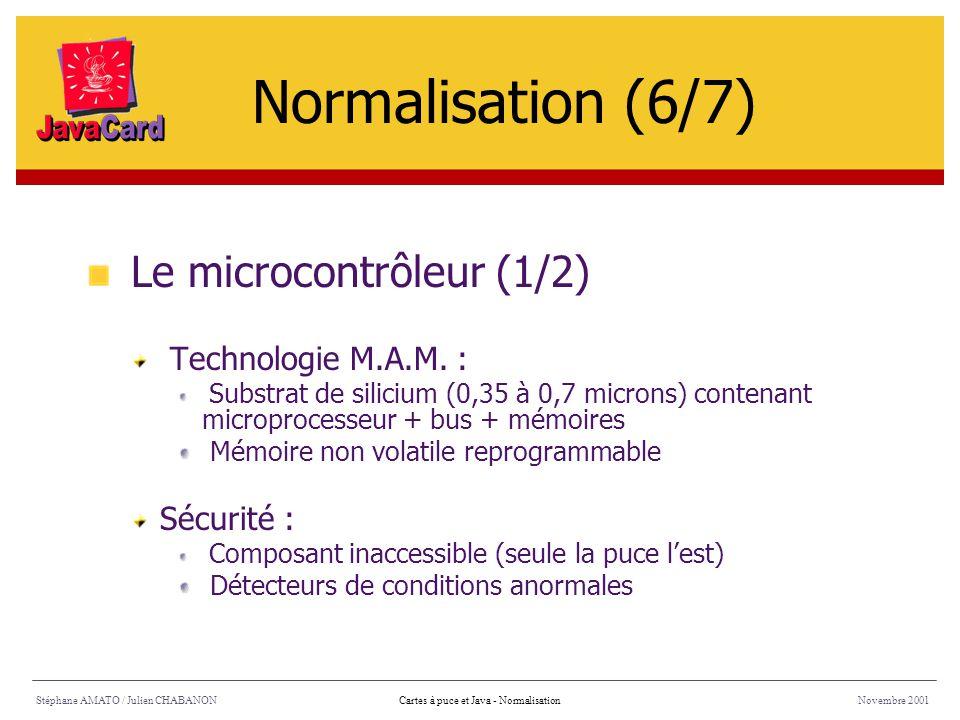 Stéphane AMATO / Julien CHABANONNovembre 2001Cartes à puce et Java - Normalisation Le microcontrôleur (1/2) Technologie M.A.M. : Substrat de silicium