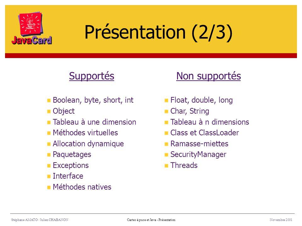 Stéphane AMATO / Julien CHABANONNovembre 2001Cartes à puce et Java - Présentation SupportésNon supportés Boolean, byte, short, int Object Tableau à un