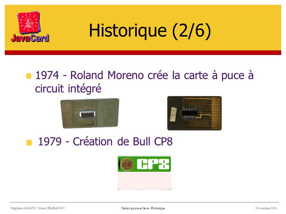 1974 - Roland Moreno crée la carte à puce à circuit intégré Stéphane AMATO / Julien CHABANONNovembre 2001Cartes à puce et Java - Historique 1979 - Cré