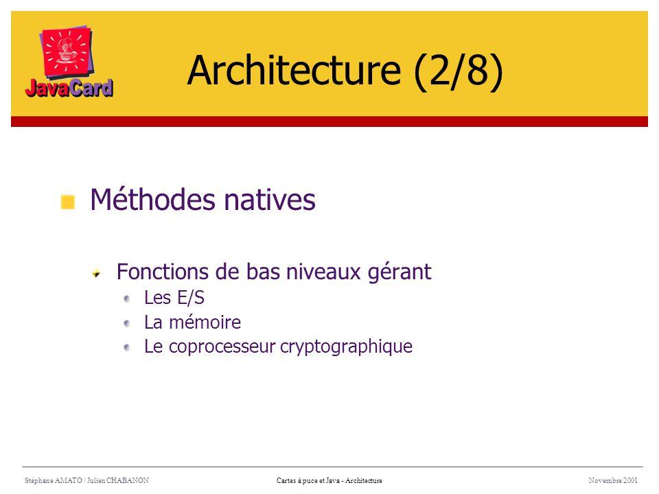 Stéphane AMATO / Julien CHABANONNovembre 2001Cartes à puce et Java - Architecture Méthodes natives Fonctions de bas niveaux gérant Les E/S La mémoire