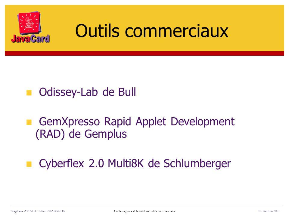 Stéphane AMATO / Julien CHABANONNovembre 2001Cartes à puce et Java - Les outils commerciaux Odissey-Lab de Bull GemXpresso Rapid Applet Development (R