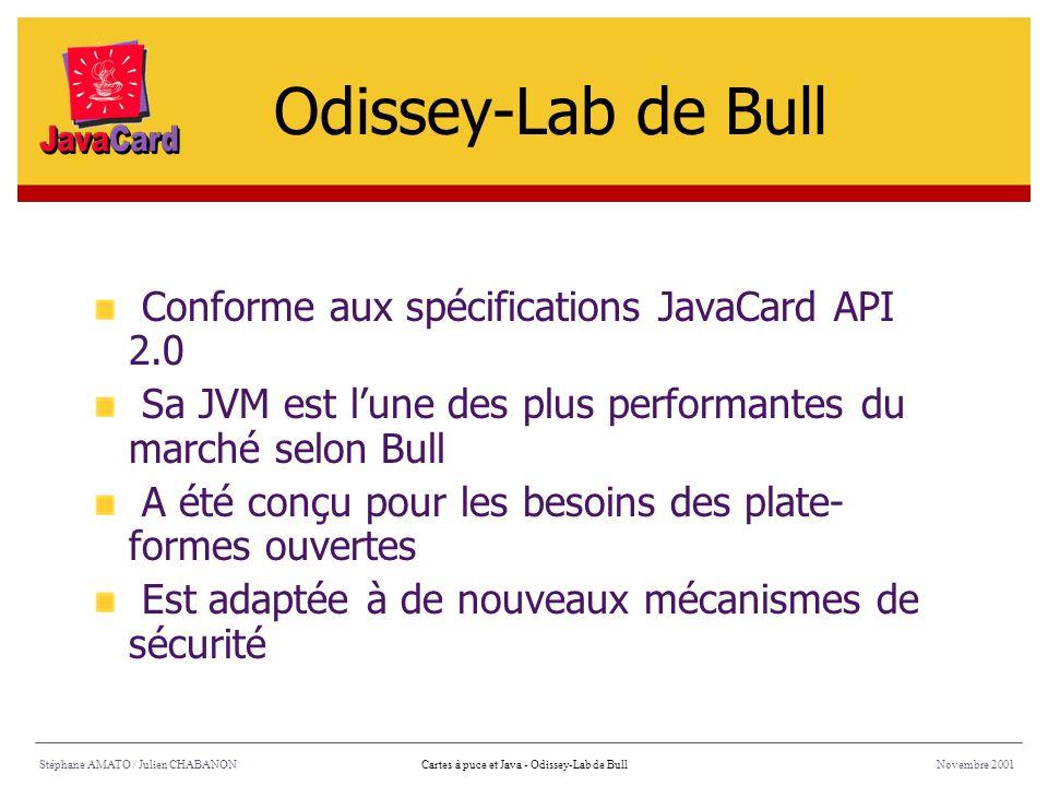 Stéphane AMATO / Julien CHABANONNovembre 2001Cartes à puce et Java - Odissey-Lab de Bull Conforme aux spécifications JavaCard API 2.0 Sa JVM est lune