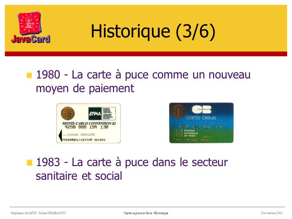 1984 - La télécarte Stéphane AMATO / Julien CHABANONNovembre 2001Cartes à puce et Java - Historique 1986 : 2 millions de cartes vendues par an 1991 : 6 millions de cartes vendues par mois Historique (4/6)