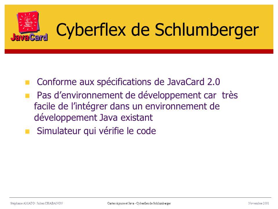 Stéphane AMATO / Julien CHABANONNovembre 2001Cartes à puce et Java - Cyberflex de Schlumberger Conforme aux spécifications de JavaCard 2.0 Pas denviro