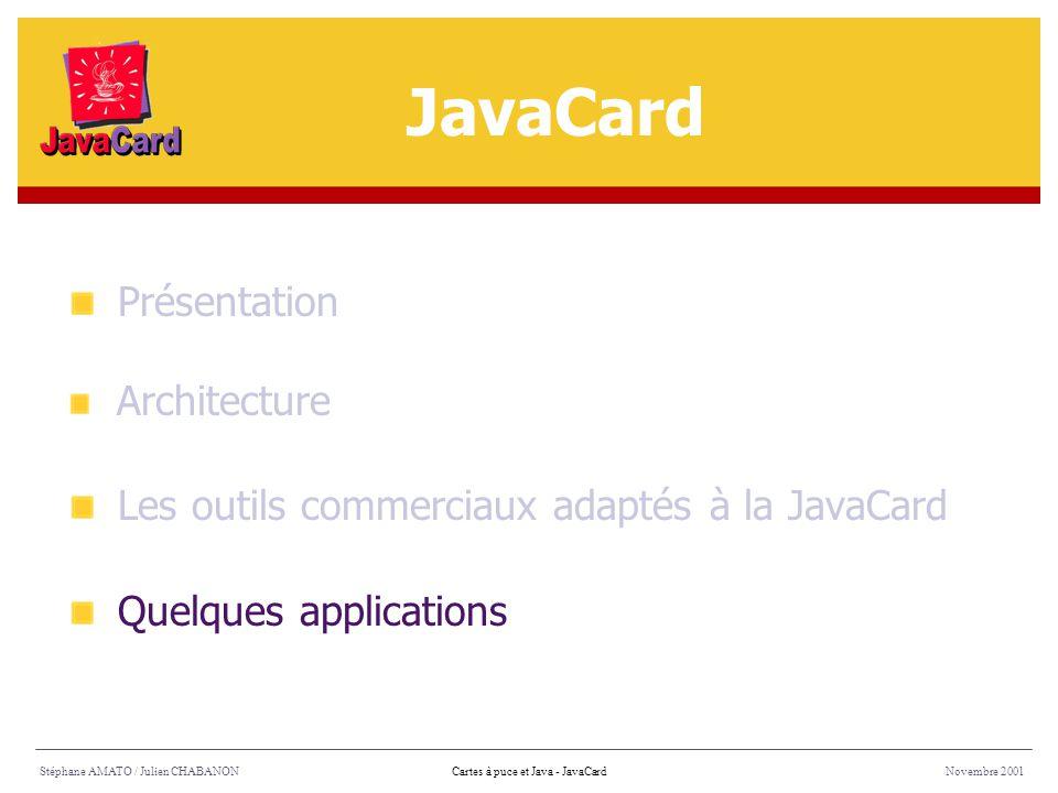 Stéphane AMATO / Julien CHABANONNovembre 2001Cartes à puce et Java - JavaCard Présentation Architecture Les outils commerciaux adaptés à la JavaCard Q