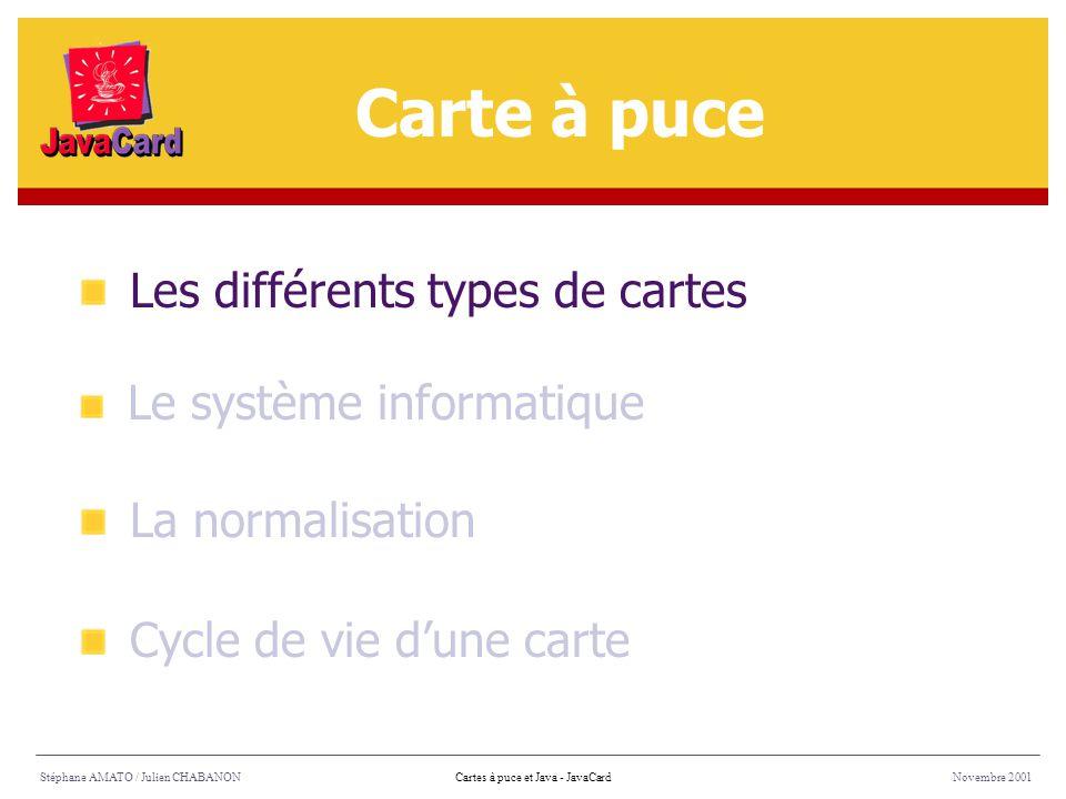 Stéphane AMATO / Julien CHABANONNovembre 2001Cartes à puce et Java - Architecture Méthodes natives Fonctions de bas niveaux gérant Les E/S La mémoire Le coprocesseur cryptographique Architecture (2/8)