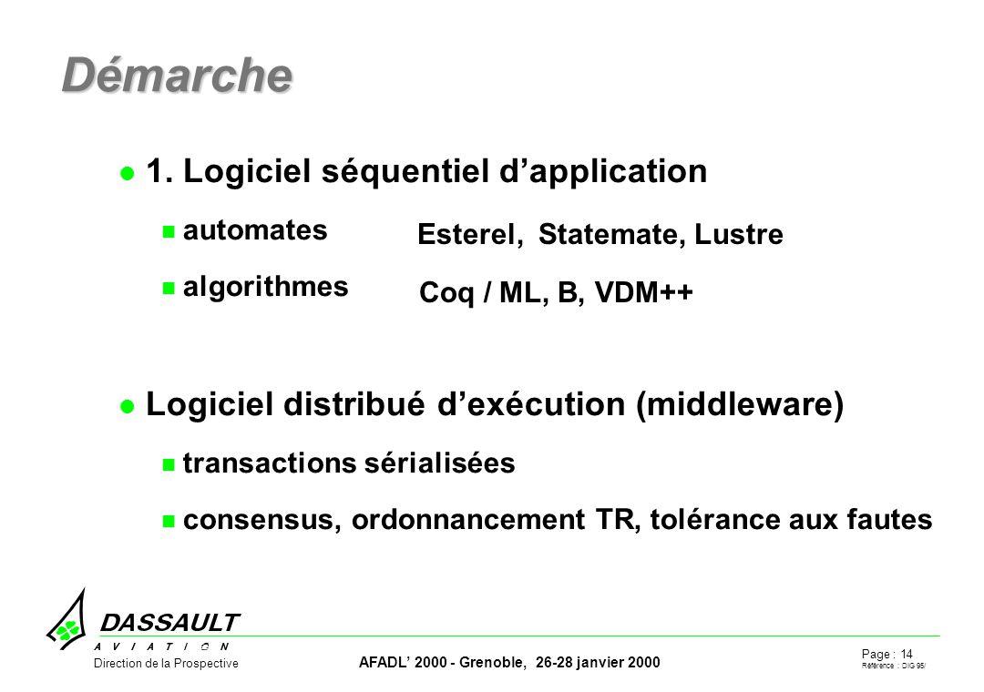 Page : 14 Référence : DIG 95/ AFADL 2000 - Grenoble, 26-28 janvier 2000 Direction de la Prospective Démarche 1.