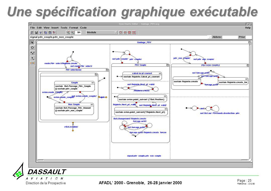 Page : 25 Référence : DIG 95/ AFADL 2000 - Grenoble, 26-28 janvier 2000 Direction de la Prospective Une spécification graphique exécutable